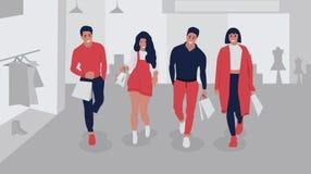Счастливые ходя по магазинам люди иллюстрация вектора