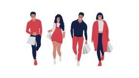 Счастливые ходя по магазинам люди бесплатная иллюстрация