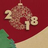Счастливые шаблон дизайна Нового Года 2018 творческий Стоковое фото RF