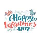 Счастливые элементы литерности и doodle дня валентинки Стоковое фото RF