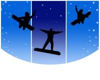 счастливые snowboarders Стоковое Изображение