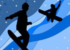 счастливые snowboarders Стоковая Фотография RF