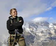 счастливый альпинист Стоковое Изображение