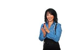 Счастливый аплодировать женщины дела стоковое фото rf