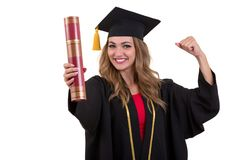 Счастливый аспирант держа диплом изолированный на белой предпосылке Стоковые Изображения RF
