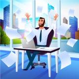 Счастливый бизнесмен наслаждаясь вектором шаржа успеха иллюстрация вектора