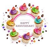 Счастливый вектор карты пирожных годовщины реалистический Круглые иллюстрации рамки 3d знамени иллюстрация штока
