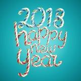Счастливый вектор Нового Года 2018 3D подписывают внутри цвета рождества Стоковая Фотография