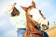 счастливый всадник horseback Стоковое Изображение RF