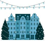 Счастливый город Европы Нового Года и рождества Ландшафт зимы города с рождественской елкой Открытка торжества праздника бесплатная иллюстрация