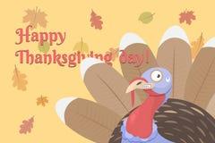 Счастливый день благодарения и милый индюк иллюстрация вектора