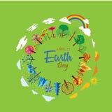 Счастливый день земли с миром и деревом - вектором иллюстрация штока