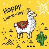 Счастливый день ламы Милая карта вектора ламы мультфильма бесплатная иллюстрация