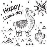 Счастливый день ламы Печать вектора ламы мультфильма чернил иллюстрация вектора