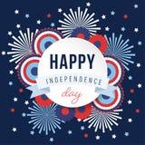 Счастливый День независимости, национальный праздник 4-ое июля Праздничная поздравительная открытка, приглашение с фейерверками и иллюстрация штока