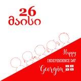 Счастливый День независимости Georgia конструируйте график элемента ягнит логос Грузинский: 26-ое мая Стоковое фото RF