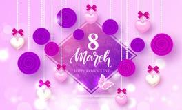 Счастливый день 8-ое марта ` s женщин - знамя Красивая предпосылка с сердцами, розами и смычками также вектор иллюстрации притяжк Стоковые Фото