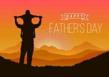 Счастливый день отца с сыном силуэта едет его шея ` s отца на горных пиках в дизайне вектора времени вечера бесплатная иллюстрация