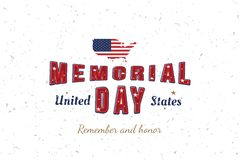 Счастливый День памяти погибших в войнах Поздравительная открытка с первоначальными шрифтом и картой и флагом США Шаблон на амери