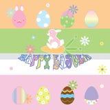 Счастливый день пасхи с красочными яичками иллюстрация штока