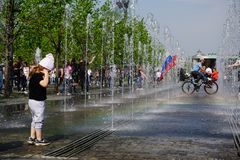 Счастливый день победы в Москве стоковое изображение rf