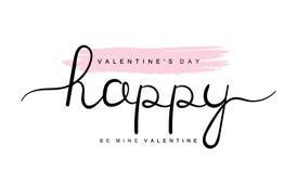 Счастливый день Святого Валентина, шахта Валентайн, почерк помечая буквами с сердцами Современный графический дизайн иллюстрация вектора