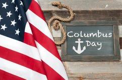 Счастливый день columbus соединенные государства флага стоковые изображения rf