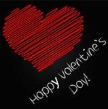 Счастливый день ` s валентинки, сердце - чертеж с мелом Стоковые Изображения