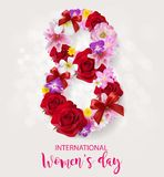 Счастливый день ` s женщин на цвете предпосылки Стоковое Фото