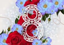 Счастливый день ` s женщин на цвете предпосылки Стоковые Изображения