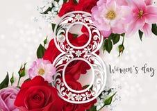 Счастливый день ` s женщин на цвете предпосылки Стоковые Фотографии RF
