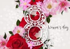 Счастливый день ` s женщин на цвете предпосылки Стоковая Фотография RF