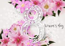 Счастливый день ` s женщин на цвете предпосылки Стоковое Изображение