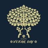 Счастливый день Vesak с Буддой под вектором искусства знака дерева и лотоса Bodhi конструирует иллюстрация вектора