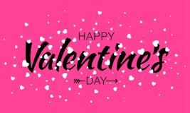 Счастливый дизайн карточки дня валентинок, типографская литерность изолированная на розовой предпосылке с белыми сердцами летая и Стоковые Изображения RF