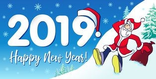 Счастливый дизайн карточки santa битника Нового Года 2019 иллюстрация вектора
