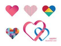 Счастливый дизайн концепции формы сердца вектора дня валентинок Стоковые Изображения