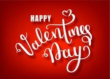 Счастливый дизайн литерности вектора чертежа руки дня валентинок Поздравительная открытка текста вектора дня Святого Валентина ру иллюстрация вектора