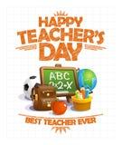 Счастливый дизайн плаката вектора дня ` s учителя, самый лучший учитель всегда бесплатная иллюстрация