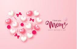 Счастливый дизайн поздравительной открытки дня матерей с сердцами, смычками, розами и серпентином План дизайна для приглашения, п Стоковые Фотографии RF