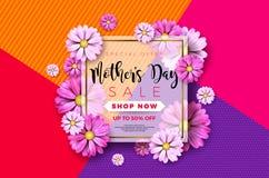 Счастливый дизайн поздравительной открытки дня матерей с цветком и типографские элементы на абстрактной предпосылке Торжество век Стоковое Изображение RF