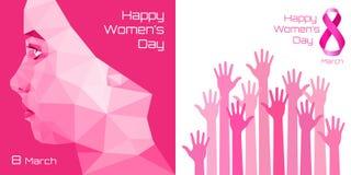 Счастливый дизайн поздравительной открытки Международного женского дня Пинк вручает предпосылку на день 8-ое марта Стоковые Изображения RF