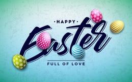 Счастливый дизайн праздника пасхи с красочным покрашенным яйцом и золотое письмо оформления на чистой предпосылке международно иллюстрация штока
