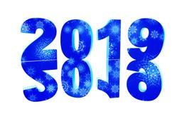 Счастливый дизайн текста Нового Года 2019, иллюстрация 3d предпосылка нумерует белизну иллюстрация штока