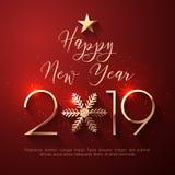 Счастливый дизайн текста Нового Года 2019 иллюстрация вектора