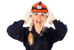 Счастливый думать строителя девушки Стоковое Фото