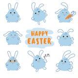 Счастливый зайчик дня пасхи, кролик с морковью иллюстрация вектора