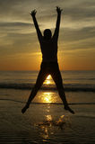 счастливый заход солнца Стоковое Фото