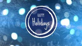 Счастливый знак праздника против справедливо светов и рождественской елки бесплатная иллюстрация