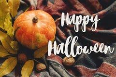 Счастливый знак текста хеллоуина на тыкве осени с красочными листьями Стоковые Изображения RF
